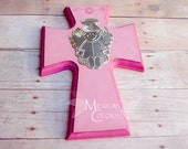 Baptism favors, Cross Hand painted with metal embossed Little Girl Angel. Party favor Baptism, First Holly Communion, Baby shower