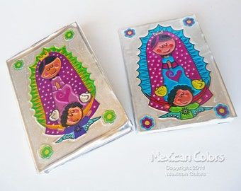 Virgen de Guadalupe, Hand embossed metal mini prayer book. Ideal for favors