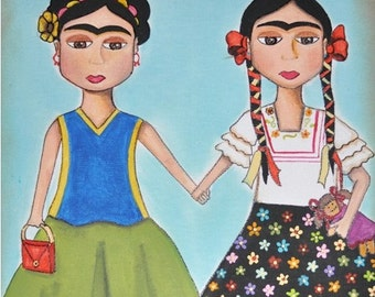 The two Fridas - Giclee print from original painting by Mirlette Islas