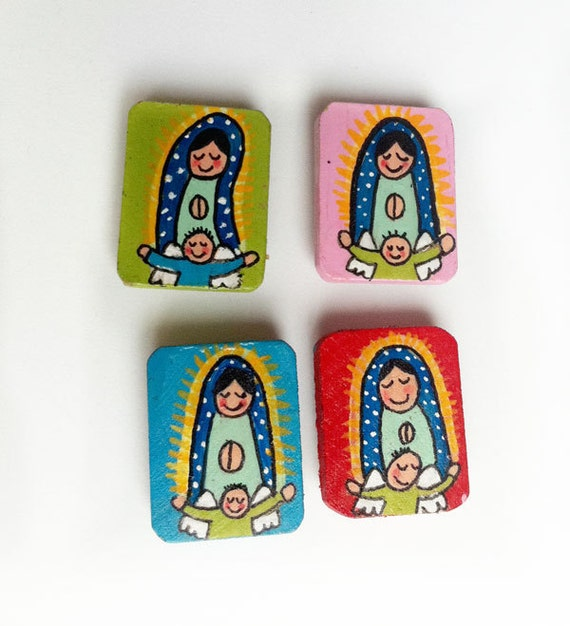 Set of 4 tiny handpainted magnets of Virgen de Guadalupe