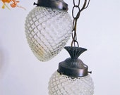 Free ship -- Hanging lamp in clear glass hobnob type patterned & cone shaped duo - Vintage