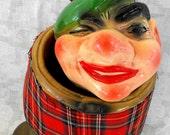 Chalkware  Scottish Whiskey bottle display-holder Scotsman in kilt with twinkle  eye - ANTIQUE