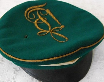 Green antique German students cap with golden monogram embroidery