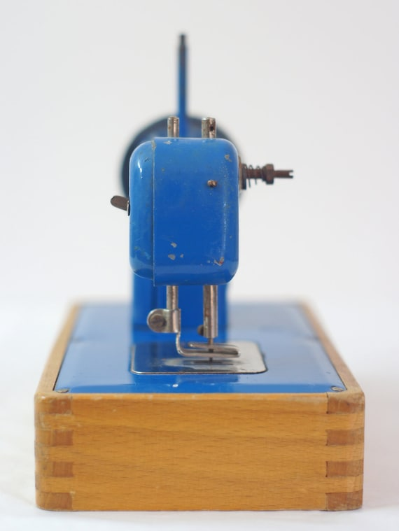 RESERVED for Jenni --- Child's vintage blue sewing machine -- stich by stich