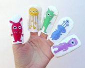 Monster Finger Puppets Printed with Rainbow Colored Designs on Cotton Fabric (5-pack)