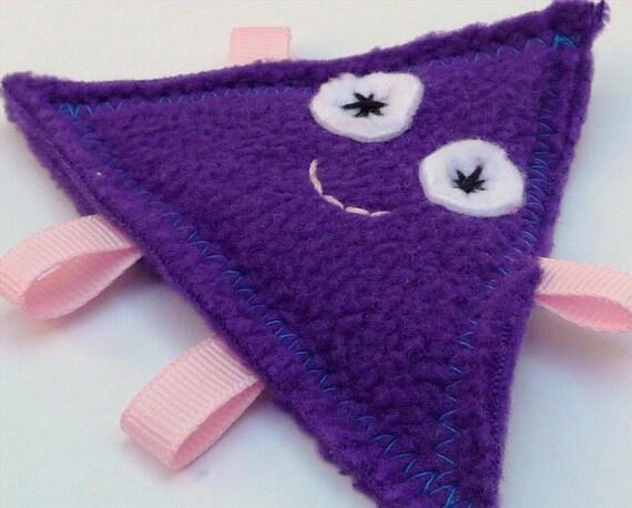 Small Purple Fleece Triangle Sensory Crinkle Toy for Baby