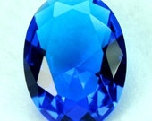 22x30 Oval Glass Jewel Faceted Diamond Cut Pointed Back Unfoiled - Ocean Blue BA136 -1pc