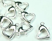 Heart Lobster Clasp 13mm Silver Over Brass  - LC-H13SP - 8pcs