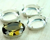 18x25 Sterling Silver Oval Open Back Prong Stone Jewel Settings with 1 Ring - USA Made - 4pcs