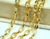 Gold Oval 4x6.5mm Cross Link Cable Chains - 6ft