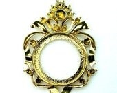 Antique Gold Cameo Setting Frame Victorian Decorative Rhinestone Embellished - 5856AG - 2pcs