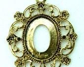 Antique Gold Decorative Rhinestone Cameo, Cabochon, Stone Setting, Frame, Pendants-FRM-5825AG  - 2pcs