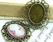 Quality Cameo Setting Frame Antique Brass Victorian Filigree Pendant -FRM-2927AB -4pcs