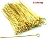 Raw Brass Eye Pins 38mm 1.5 inch 21 Guage Soft Wire Easy to Manipulate -PN-H38x0.7RB - 100pcs