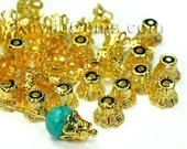 6mm Filigree Bead Caps Gold - Small - 50pcs