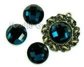 Mirror Glass Cabochon cab 14mm Round Checker Cut Faceted Dome -London Blue- 4pcs