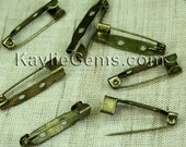 Brooch Back Safety Bar Pin 25mm -Antique Brass 24 pcs