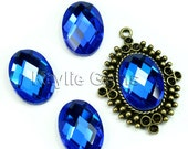 Mirror Glass Cabochon cab 18x13 Oval Checker Cut Faceted Dome -Royal Blue- 4pcs