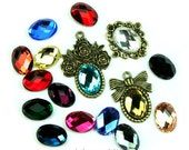 Mirror Glass Cabochon Cab Oval 10x14mm Checker Cut Faceted Dome -Pick Your Colors- 6pcs