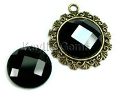 Mirror Glass Cabochon cab 20mm Round Checker Cut Faceted Dome -Jet Black - 2pcs