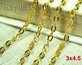 6FT Flat Oval 3x4.5mm Cross Link Cable Chains Gold Plated