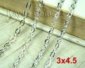 Silver Plated Flat Oval 3x4.5mm Cross Link Cable Chains - 6ft