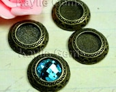 Round Cabochon Setting Frame Fits 10mm Cab  Ring Top Antique Brass  -FRM-14851AB-6pcs