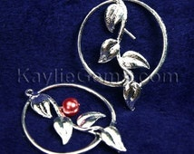 Pearl Setting Vine Leaf Charm Connector with Hoop Silver Over Brass - 4pcs