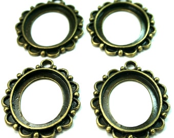Antique Brass Cameo Cabochon Settings Pendants - 7pcs