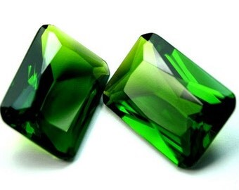 1 pc Glass Jewel 18x25mm Octagon Faceted Diamond Cut, Pointed Back, Unfoiled  with Small Corner- Olive Green BG127
