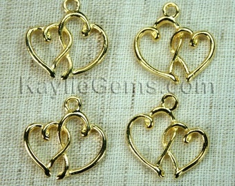 Gold Double Heart Love Charm Pendant in Swirly Design - 8pcs