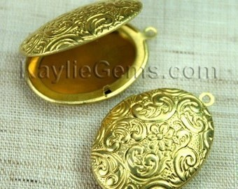 Lockets Oval Raw Brass Floral Old Fashion   -  LKOS-L3RB - 2pcs