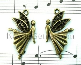 4 pcs (2 Pairs) Antique Brass Little Fairy /Angel Charms / Pendants/Earring Dangles/Drops