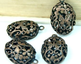 4pcs Charms Antique Copper Oval Victorian Filigree Butterfly Flower Pendants Charms Drops