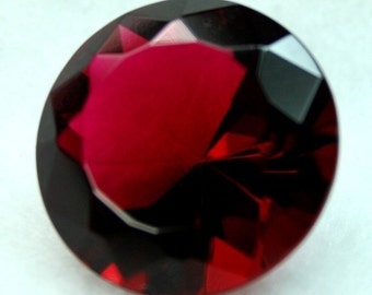 Glass Jewel 20mm Round Faceted Diamond Cut Pointed Back Unfoiled - Rose Red BR135 - 1pc