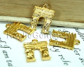 8 pcs Gold Paris Arc de Triomph charms, Drops