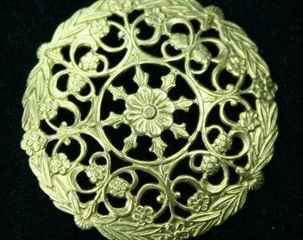 USA Premium Quality Raw Brass Filigree Stamping -G6701D - 2pcs