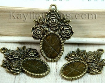 Cameo 10x14 Setting Frame Antique Brass Rose Victorian Style -FRM-FC5AB - 4pcs