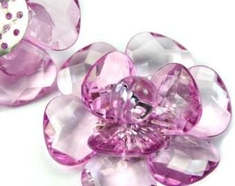 Large 40mm Decorative Focal Acrylic Flower Pendant- Lilac - 2pcs