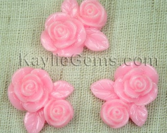 6 Resin Double Rose Flower Cabochon Cabs 20mm  - Creamy Pink