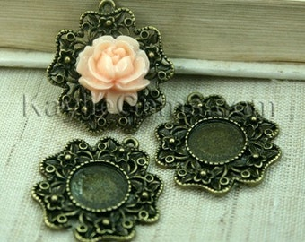 Round 28mm Inner 12mm Cameo Cabochon Setting Frame Pendant Antique Brass  -FRM-6506AB -4pcs