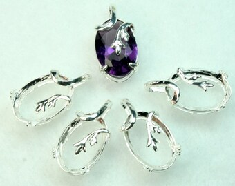 Prong Setting 10x14 Oval Silver Plated Open Back Rose Bud Design with Bail - ST-1167SP -4pcs