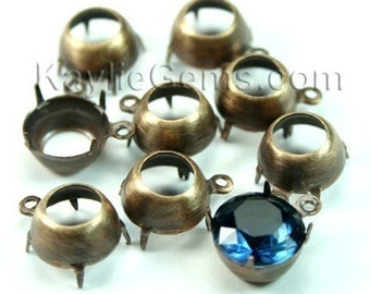 10mm Round Oxidized Brass Open Back Prong Settings 1 Ring - 6pcs