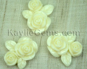 Resin Double Rose Flower Cabochon Cabs 20mm  - Creamy Ivory - 6pcs
