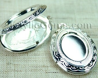 Silver Oval Lockets Cameo Cabochon Setting Victorian Style   -  LKOS-95SP -2pcs