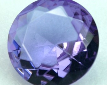 Glass Jewel 20mm Round Faceted Diamond Cut Pointed Back, Unfoiled  - Violet BV21 - 1pc