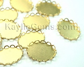 1 Dozen Raw Brass 18x13mm Lace Edge Cup Setting Base -12pcs