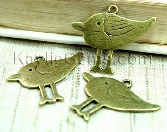 Cute Beach Bird Sandpiper Antique Brass Charm / Dangle - 6pcs