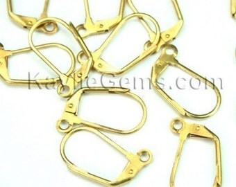 Leverback Earwires with Loop, Solid Raw Brass, 10x19mm Large  -FDG-ERLB-10x19RB - 12pcs