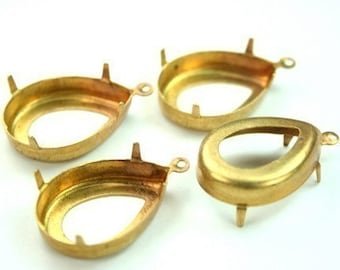 Raw Brass Prong Setting 18x25 Tear Drop Open Back with 1 Loop/Ring -4pcs
